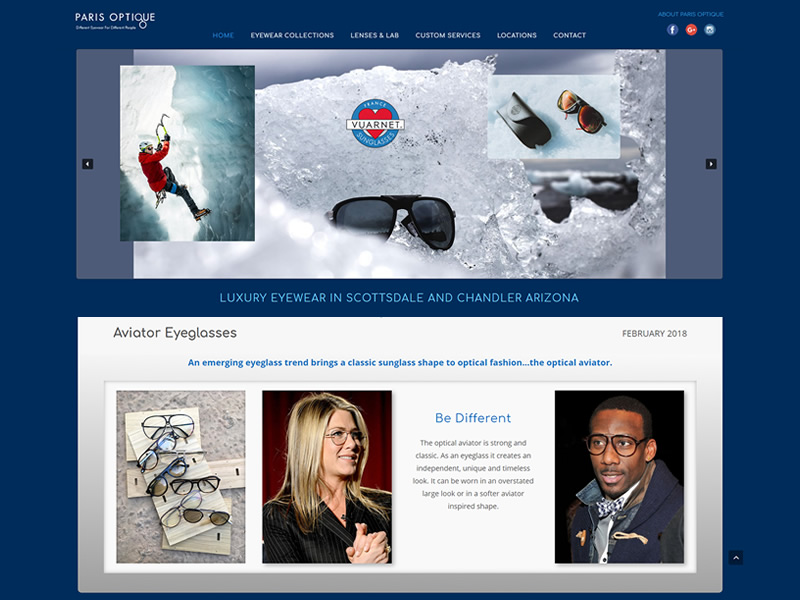 Paris Optique website